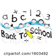 Clipart Of A Blue Wave With Faces Of Happy Children With Numbers And Letters Over Back To School Text Royalty Free Vector Illustration