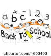 Orange Wave With Faces Of Happy Children With Numbers And Letters Over Back To School Text