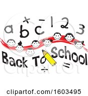 Clipart Of A Red Wave With Faces Of Happy Children With Numbers And Letters Over Back To School Text Royalty Free Vector Illustration