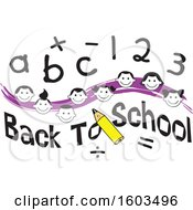 Clipart Of A Purple Wave With Faces Of Happy Children With Numbers And Letters Over Back To School Text Royalty Free Vector Illustration