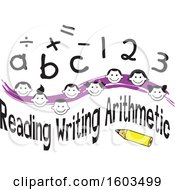Purple Wave With Faces Of Happy Children Math Symbols Numbers Letters And Reading Writing Arithmetic Text