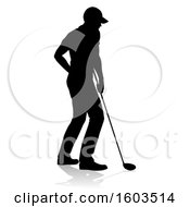 Silhouetted Male Golfer With A Reflection Or Shadow On A White Background