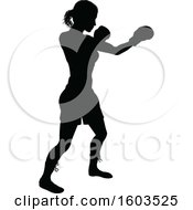 Clipart Of A Black Silhouetted Female Boxer Fighter Wearing Safety Head Gear Royalty Free Vector Illustration by AtStockIllustration