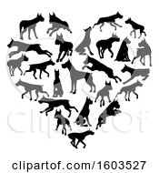 Clipart Of A Heart Made Of Silhouetted Great Dane Dogs Royalty Free Vector Illustration