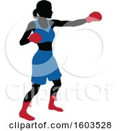 Clipart Of A Black Silhouetted Female Boxer Fighter In A Blue Uniform With Red Shoes And Gloves Royalty Free Vector Illustration by AtStockIllustration