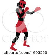 Clipart Of A Black Silhouetted Female Boxer Fighter In A Red Uniform Royalty Free Vector Illustration by AtStockIllustration