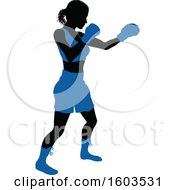 Clipart Of A Black Silhouetted Female Boxer Fighter In A Blue Uniform Royalty Free Vector Illustration by AtStockIllustration
