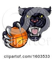 Tough Black Panther Monster Mascot Holding Out A Basketball In One Clawed Paw