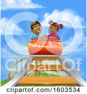 Poster, Art Print Of Happy Black Boy And Girl At The Top Of A Roller Coaster Ride Against A Blue Sky With Clouds