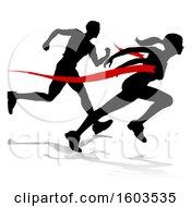 Clipart Of A Black Silhouetted Female Runner Breaking Through A Red Finish Line And Competing With A Man With A Shadow Royalty Free Vector Illustration by AtStockIllustration