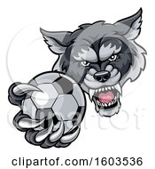 Tough Wolf Monster Mascot Holding Out A Soccer Ball In One Clawed Paw