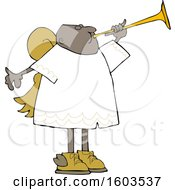 Poster, Art Print Of Cartoon Black Male Angel Blowing A Horn