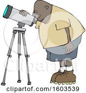 Poster, Art Print Of Cartoon Black Male Astronomer Looking Through A Telescope