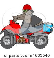 Clipart Of A Cartoon Black Man Riding A Red ATV With An Ice Box On The Back Royalty Free Vector Illustration