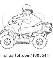 Clipart Of A Cartoon Lineart Black Man Riding A Red ATV With An Ice Box On The Back Royalty Free Vector Illustration