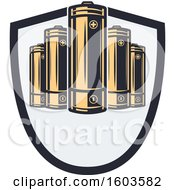Clipart Of A Shield With Batteries Royalty Free Vector Illustration