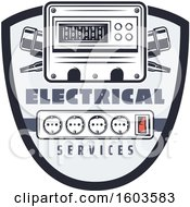 Clipart Of A Shield With An Electrical Ammeter And Sockets Royalty Free Vector Illustration