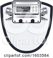 Clipart Of A Shield With An Electrical Ammeter Royalty Free Vector Illustration