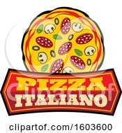 Clipart Of A Pizza Logo Royalty Free Vector Illustration