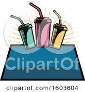 Clipart Of A Fountain Soda Logo Royalty Free Vector Illustration