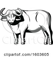 Clipart Of A Water Buffalo In Black And White Royalty Free Vector Illustration by Vector Tradition SM