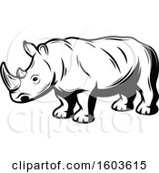 Poster, Art Print Of Rhinoceros In Black And White