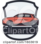 Clipart Of A Car In A Shield Royalty Free Vector Illustration