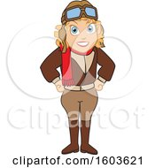 Clipart Of A Female Pilot Amelia Earhart School Mascot Character Royalty Free Vector Illustration by Toons4Biz