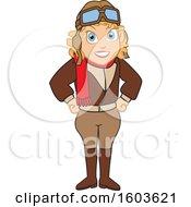 Female Pilot Amelia Earhart School Mascot Character