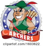 Clipart Of A Male Archer School Mascot Character In A Badge With A Banner Royalty Free Vector Illustration