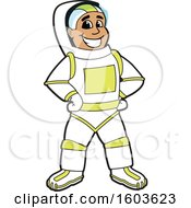 Clipart Of A Happy Male Astronaut School Mascot Character Royalty Free Vector Illustration