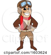 Clipart Of A Male Pilot Aviator Mascot Character Royalty Free Vector Illustration