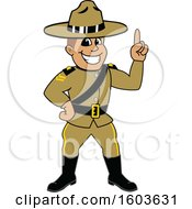 Clipart Of A Male Ranger Mascot Character Holding Up A Finger Royalty Free Vector Illustration