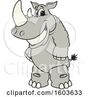 Clipart Of A Rhinoceros School Mascot Character Royalty Free Vector Illustration