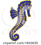 Clipart Of A Blue Seahorse School Mascot Character Royalty Free Vector Illustration