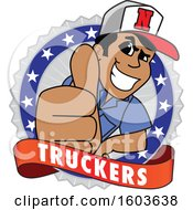 Clipart Of A Male Trucker Mascot Character Giving A Thumb Up Over A Banner And Badge Royalty Free Vector Illustration