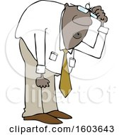 Clipart Of A Cartoon Black Business Man Bending Over To Look At Something Royalty Free Vector Illustration