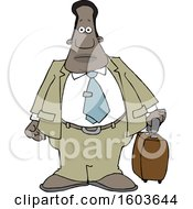 Clipart Of A Cartoon Traveling Black Business Man Royalty Free Vector Illustration