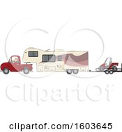 Cartoon White Man Driving A Pickup Truck And Hauling A Camper Fifth Wheel Trailer With An Atv On A Trailer