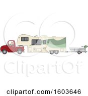 Cartoon White Man Driving A Pickup Truck And Hauling A Camper Fifth Wheel Trailer With A Boat On A Trailer