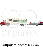 Cartoon White Man Driving A Pickup Truck And Hauling A Camper Fifth Wheel Trailer With A Trailer Of ATVs