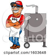 Clipart Of A Black Man Holding A Spatula In Folded Arms And Leaning Against A Bbq Smoker Royalty Free Vector Illustration by LaffToon