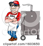 Clipart Of A White Man Holding A Spatula In Folded Arms And Leaning Against A Bbq Smoker Royalty Free Vector Illustration