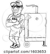 Clipart Of A Lineart Man Holding A Spatula In Folded Arms And Leaning Against A Bbq Smoker Royalty Free Vector Illustration
