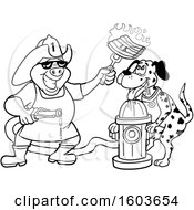 Clipart Of A Lineart Drooling Dalmatian Dog And Pig Fireman Chef Holding Up Fiery Ribs Royalty Free Vector Illustration
