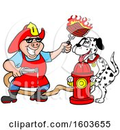 Clipart Of A Drooling Dalmatian Dog And Pig Fireman Chef Holding Up Fiery Ribs Royalty Free Vector Illustration