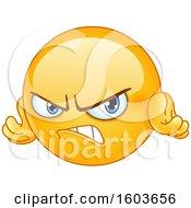 Poster, Art Print Of Cartoon Yellow Emoji Looking Angry