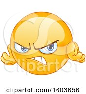 Clipart Of A Cartoon Yellow Emoji Looking Angry Royalty Free Vector Illustration