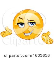 Clipart Of A Cartoon Yellow Emoji Presenting Confidently Royalty Free Vector Illustration