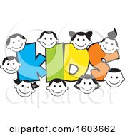Clipart Of The Colorful Word Kids Surrounded By Faces Of Children Royalty Free Vector Illustration by Johnny Sajem